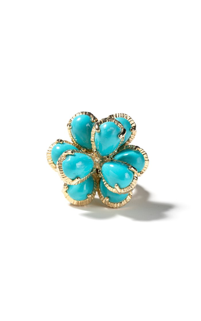 Vintage 14K Yellow Gold Pear Shape Turquoise Cluster Ring