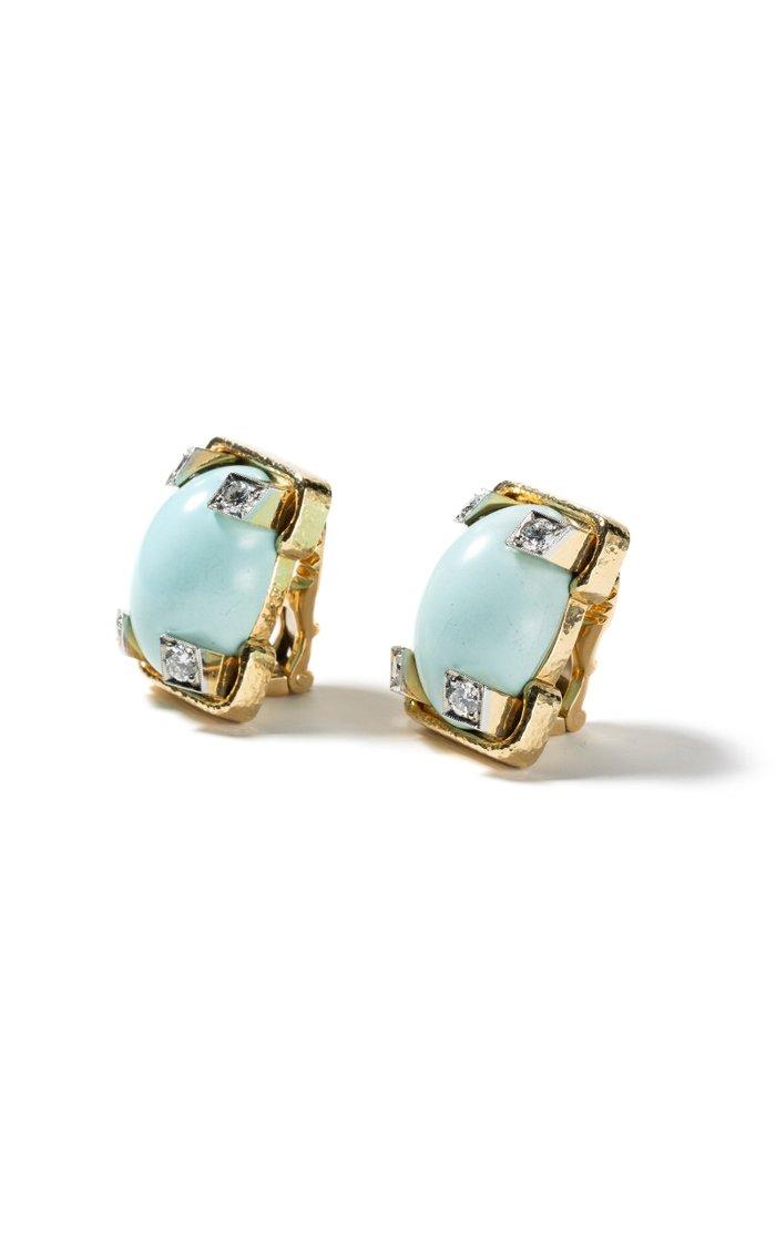 Vintage 18K Yellow Gold David Webb Turquoise & Diamond Earrings