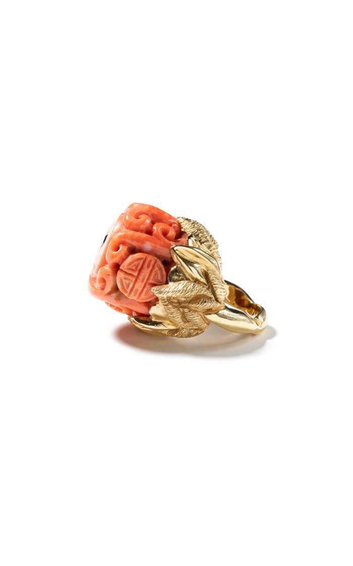 18K Yellow Gold Free Shape Coral & Blue Sapphire Ring