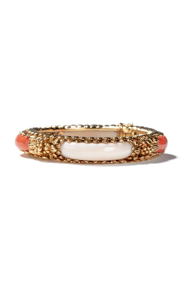 Vintage 18K Yellow Gold & Two Tone Coral Bracelet