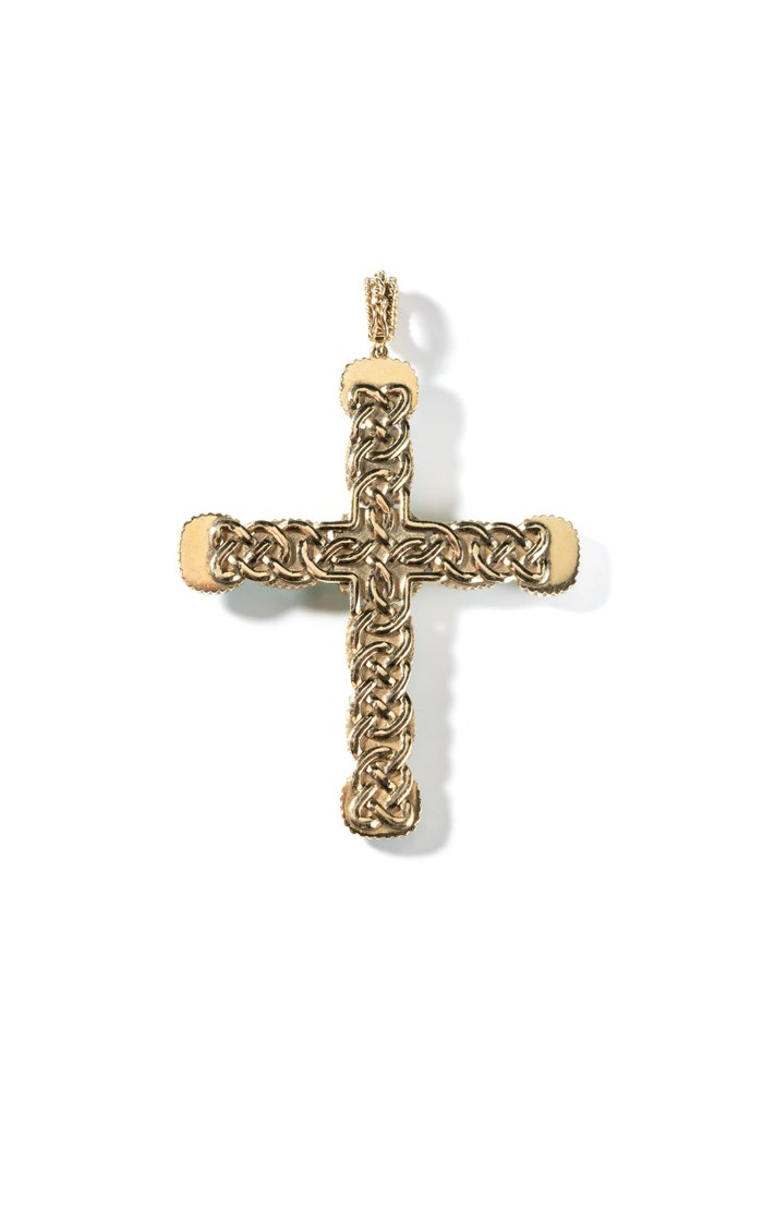 Vintage 18K Yellow Gold & Turquoise Cross Pendant