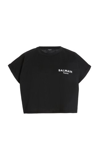 Logo-Flocked Cotton Cropped T-Shirt
