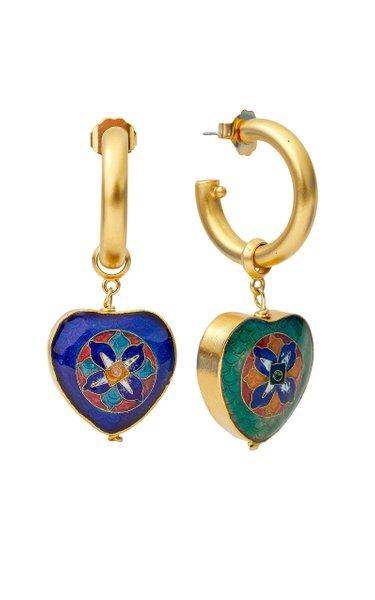 Meggie Enameled 24K Gold-Plated Hoop Earrings