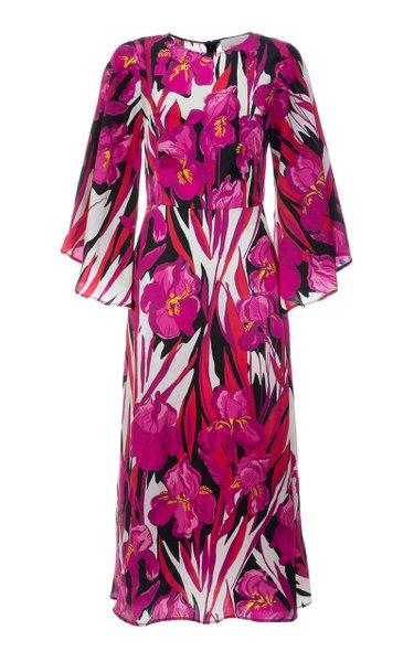 Sorella Draped-Sleeve Floral Silk Midi Dress