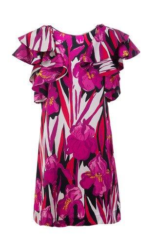 Flame Ruffled Floral Silk Mini Dress