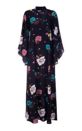 Magnifico Draped-Sleeve Floral Crepe Maxi Dress