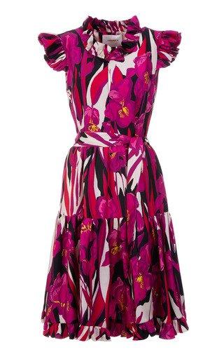 Short And Sassy Ruffled Floral Silk Dress
