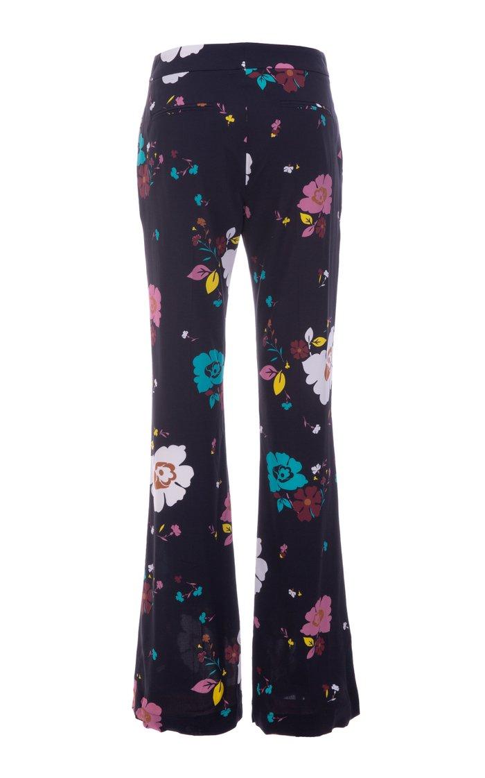 Saturday Night Floral Crepe Flared Pants