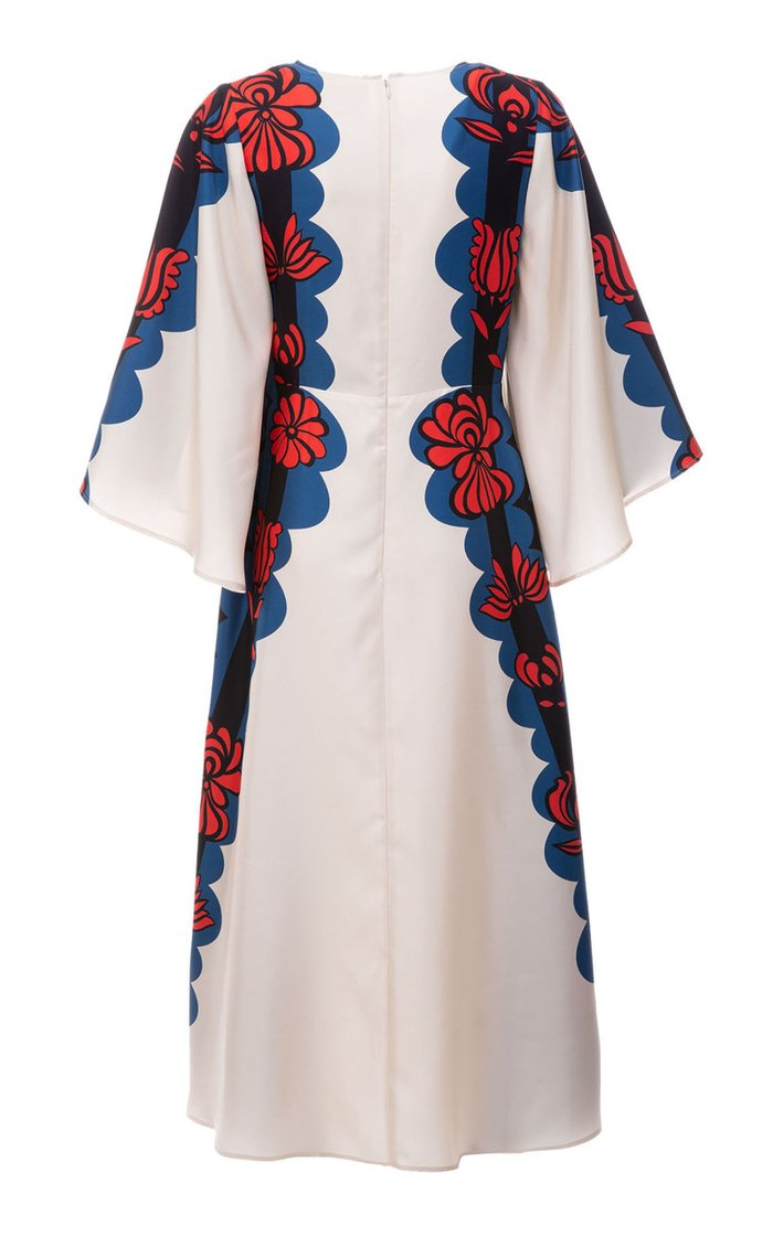 Sorella Draped-Sleeve Printed Silk Midi Dress