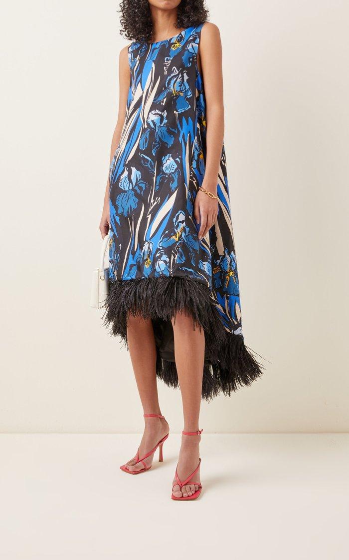 La Scala Feather-Trimmed Floral Silk Midi Dress