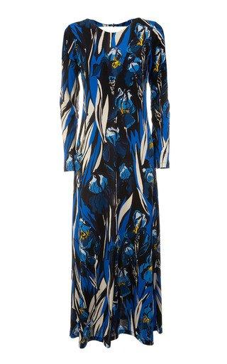 Swank Open-Back Printed Crepe Maxi Dress