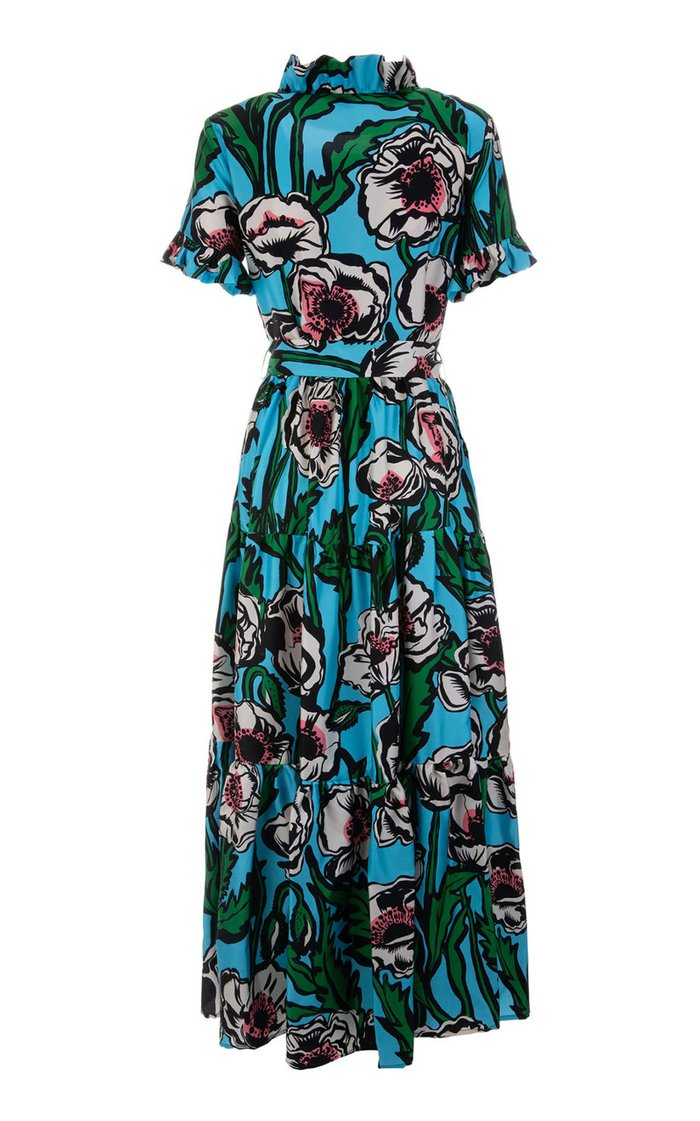 Long And Sassy Ruffled Floral Silk Maxi Dress