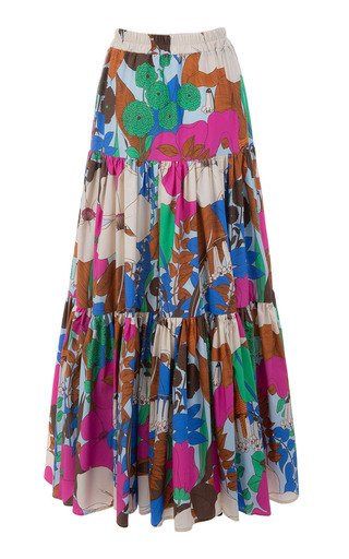 Big Tiered Floral Cotton Maxi Skirt