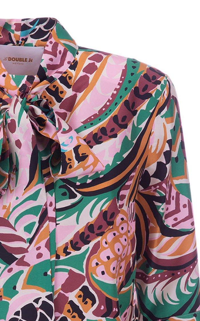 Happy Wrist Printed Silk Tie-Neck Top
