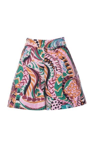 Good Butt Printed Silk Wide-Leg Shorts