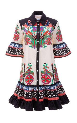 Choux Ruffled Printed Cotton Mini Shirt Dress
