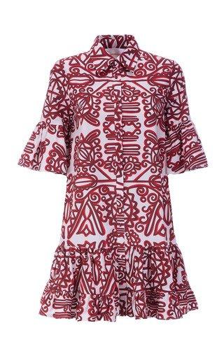 Choux Ruffled Printed Cotton Mini Dress