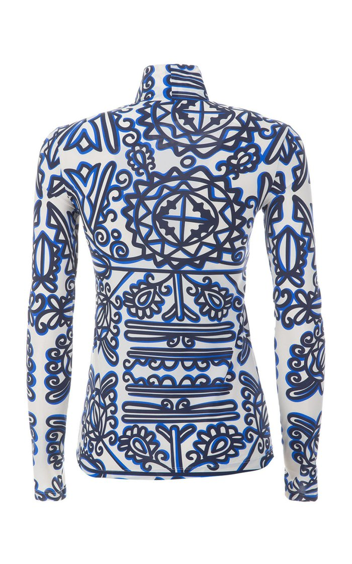 Printed Stretch Jersey Turtleneck Top