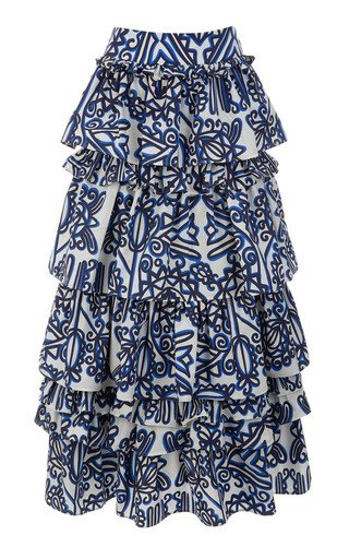 Dolce Tiered Printed Cotton Maxi Skirt