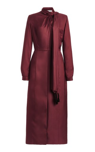 Paros Tie-Neck Silk-Twill Midi Dress