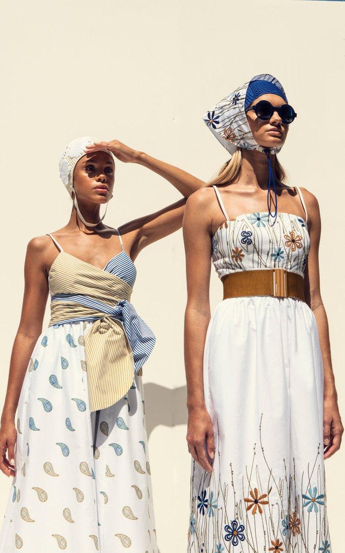 Calusa Twisted Mixed-Print Cotton Midi Dress