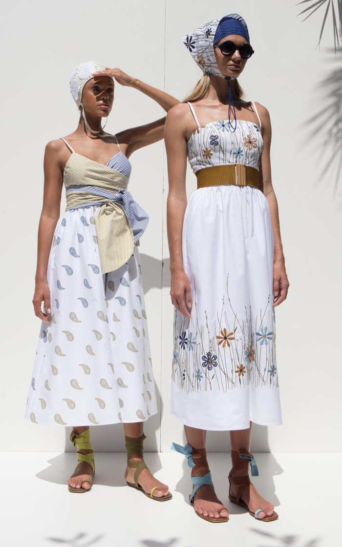 Peacock Belted Embroidered Cotton Midi Dress