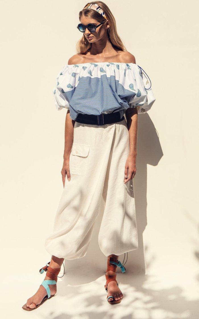 Mutiny Mixed-Print Cotton Off-The-Shoulder Top