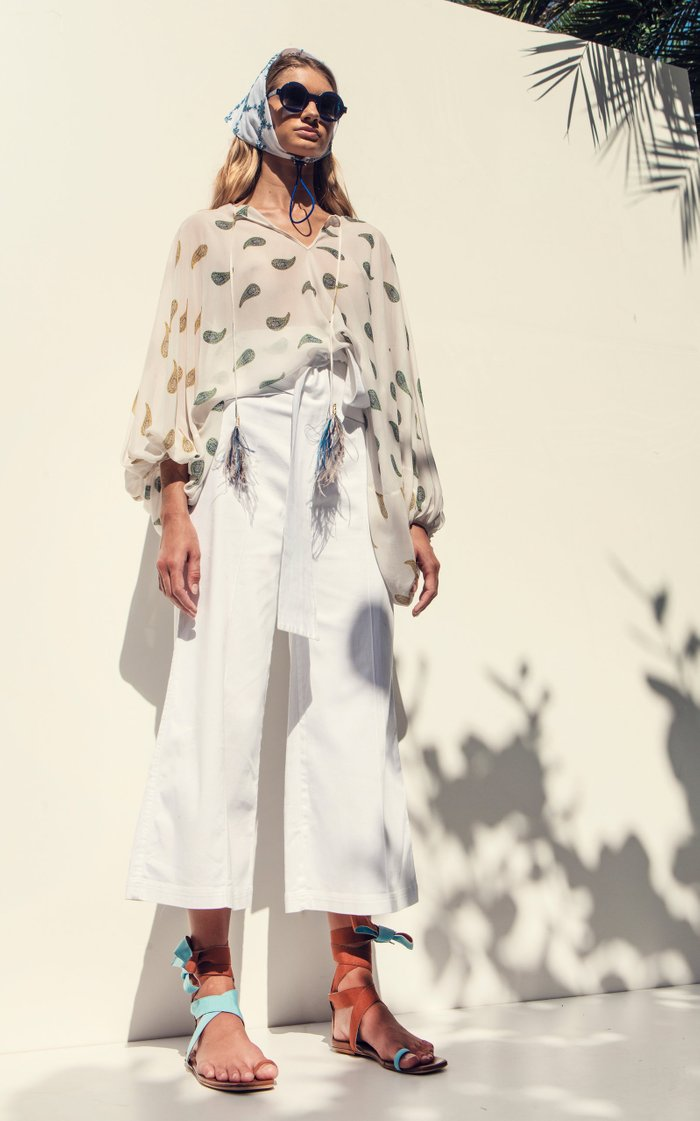 Salve Belted Cotton Cropped Wide-Leg Trousers