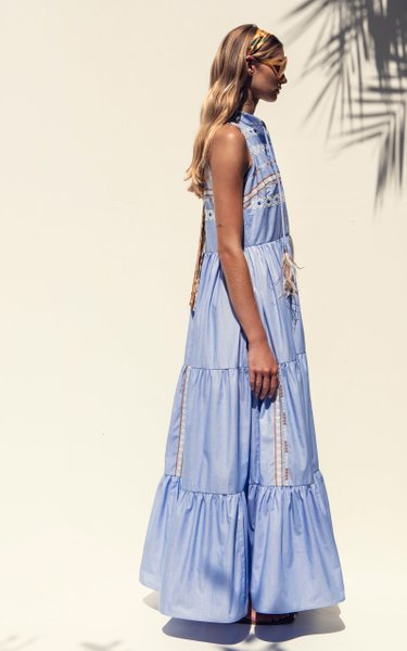 Aviaton Feather-Tipped Embroidered Cotton Maxi Dress