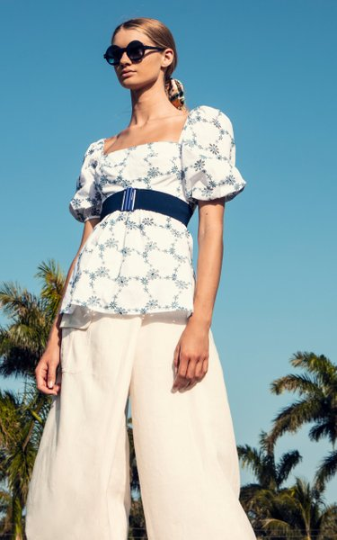 Tigertale Floral-Embroidered Cotton Top