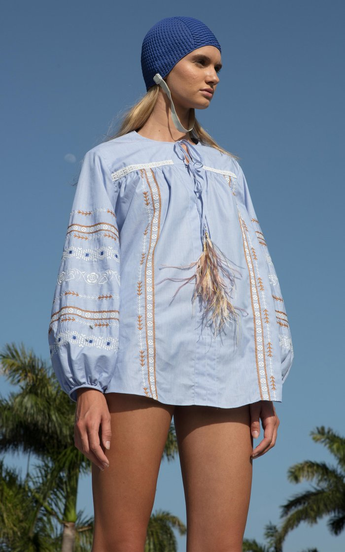 Monty Feather-Tipped Embroidered Cotton Top