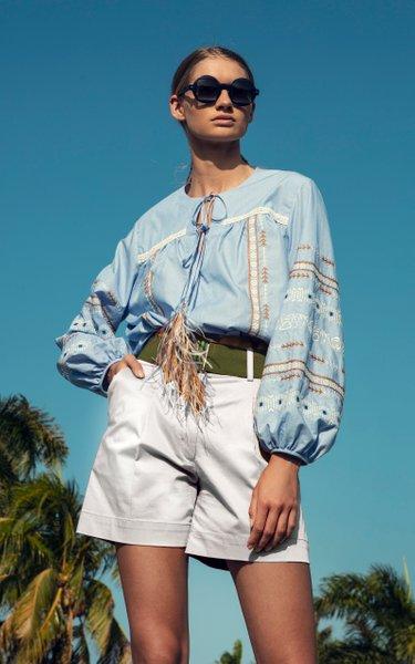 Velano Belted Pleated Cotton Shorts