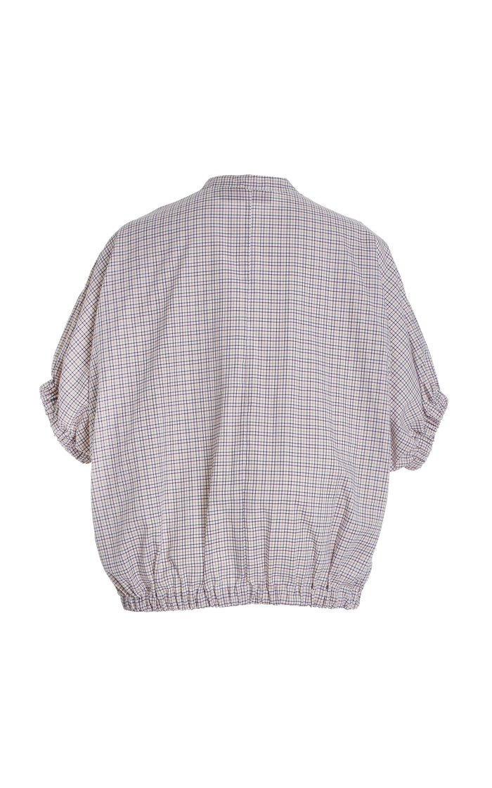 Solano Puff-Sleeve Plaid Cotton Top