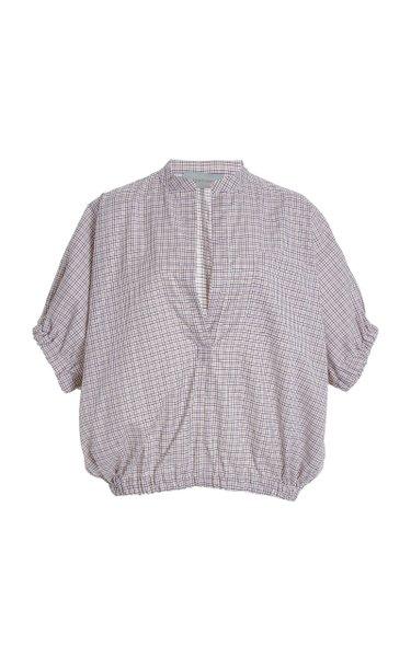 Solano Puff-Sleeve Plaid Cotton Top