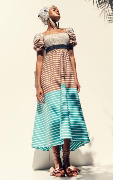 Blaine Mixed-Striped Cotton Midi Dress