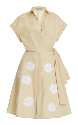 Pamona Tie-Front Embroidered Cotton Mini Dress