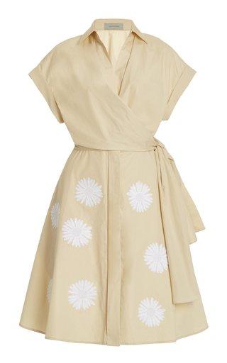 Pamona Tie-Front Embroidered Cotton Mini Dress