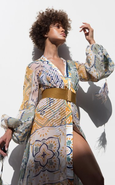 Inagua Belted Feather-Tipped Mosaic-Print Silk Georgette Maxi Dress