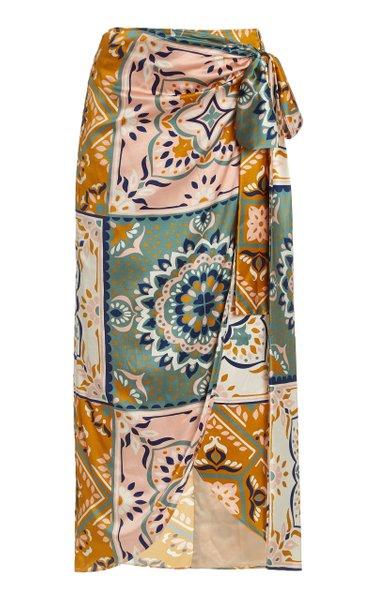 Bonnan Mosaic-Print Silk-Satin Midi Skirt