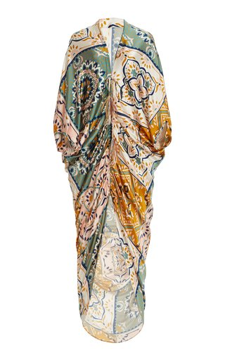Cloister Feather-Tipped Mosaic-Print Silk Satin Maxi Dress