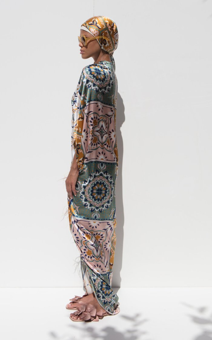 Cloister Feather-Tipped Mosaic-Print Silk Satin Maxi Dress
