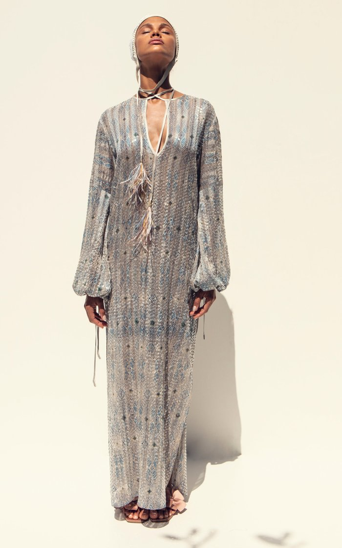 Mayfair Feather-Tipped Sequined Maxi Dress