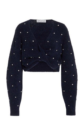 Diamante Embellished Twist-Front Cropped Sweater