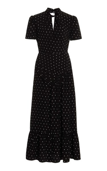 Diamante Embellished Crepe Midi Dress