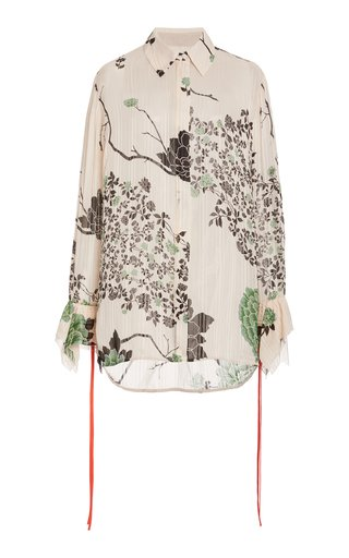 Floral Flounce-Cuff Crepe Shirt