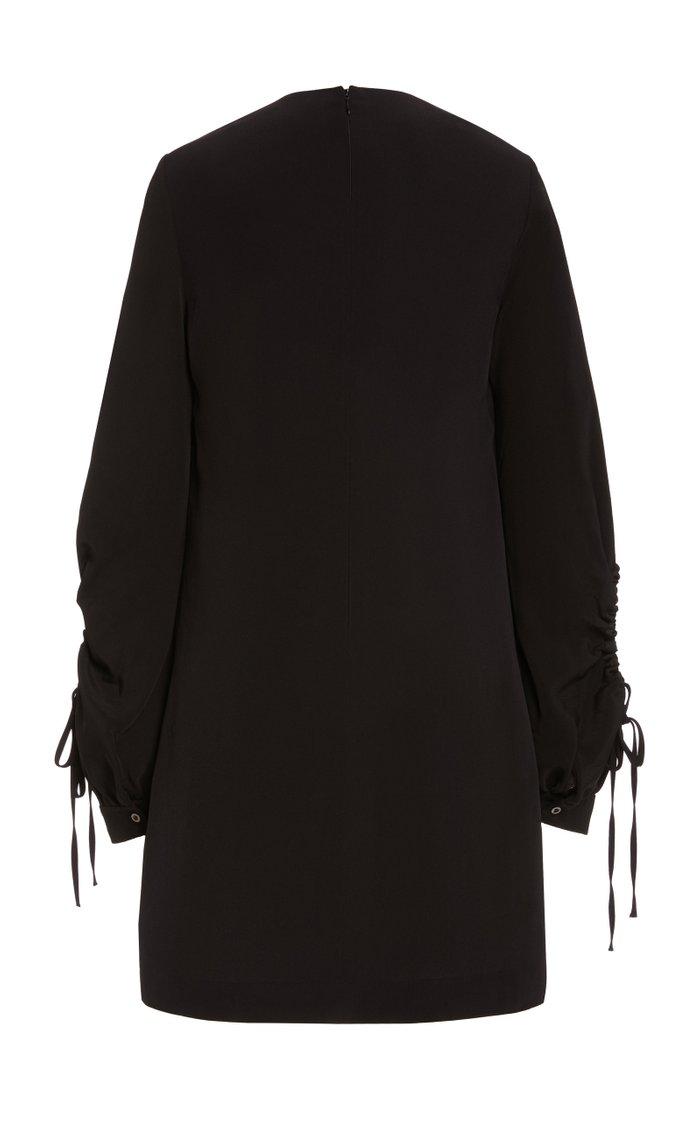 Drawstring-Sleeve Satin Crepe Shift Dress