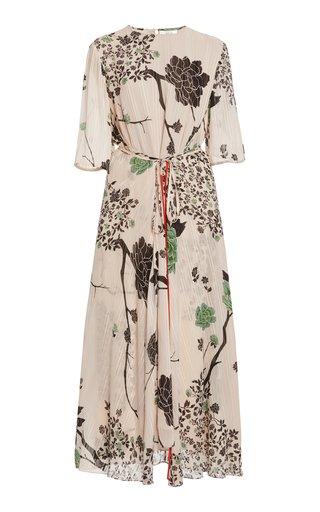 Floral Belted Crepe Midi Dress