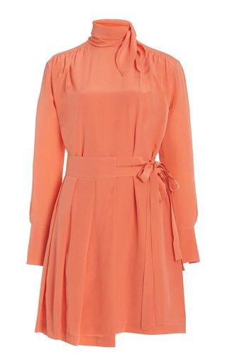 Pleated Silk Mini Dress