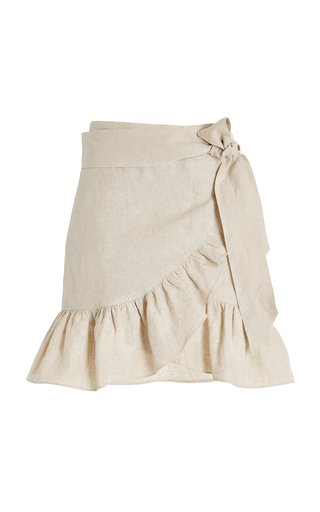 Tempster Ruffled Linen Mini Wrap Skirt