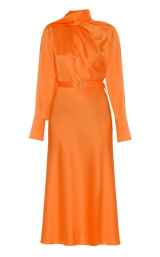 Belted Scarf-Neck Silk Midi Dress